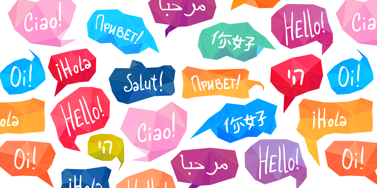 "Speech bubbles with ""hello"" written in different languages"
