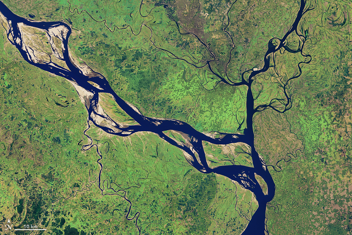 Satellite view of a river