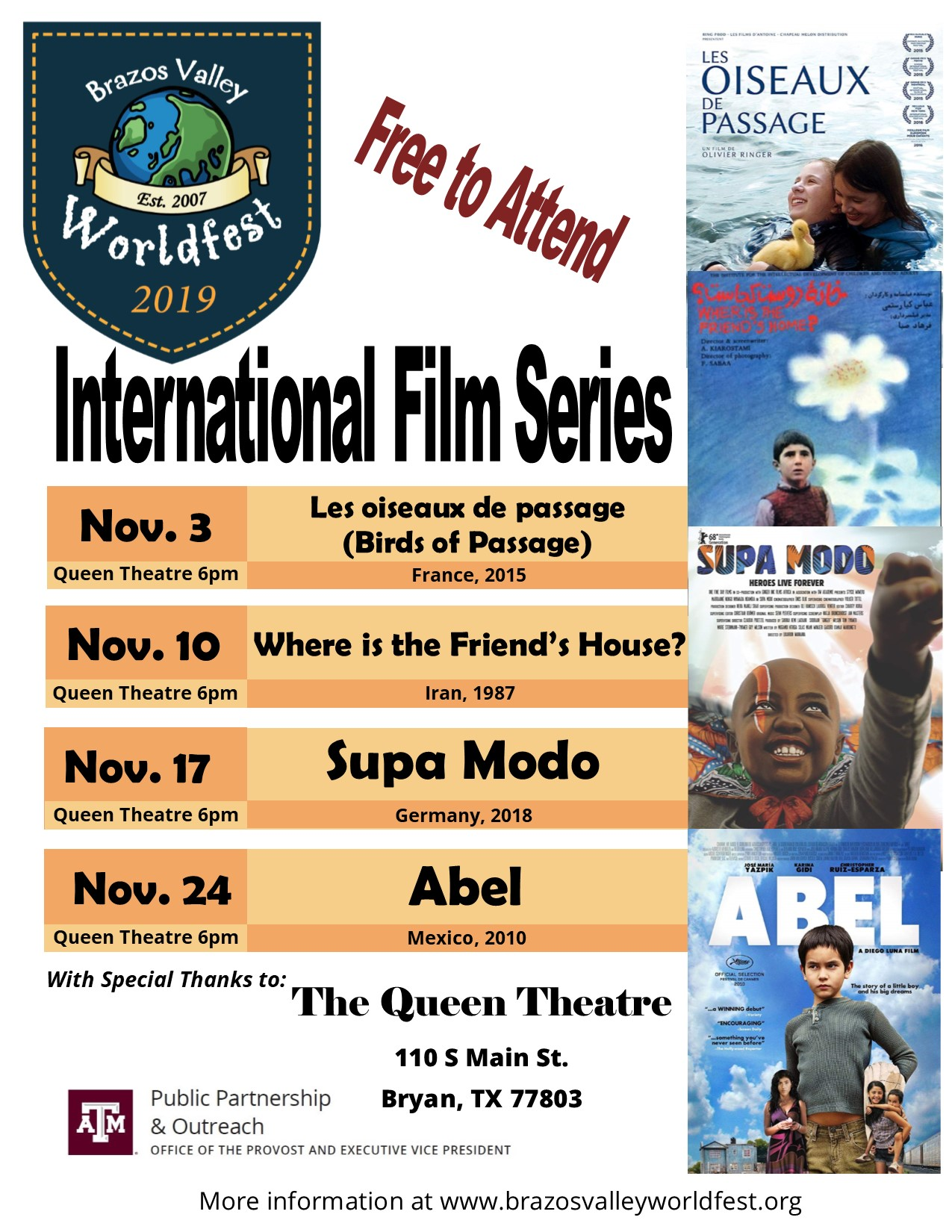 International Film Series flyer, with schedule of films