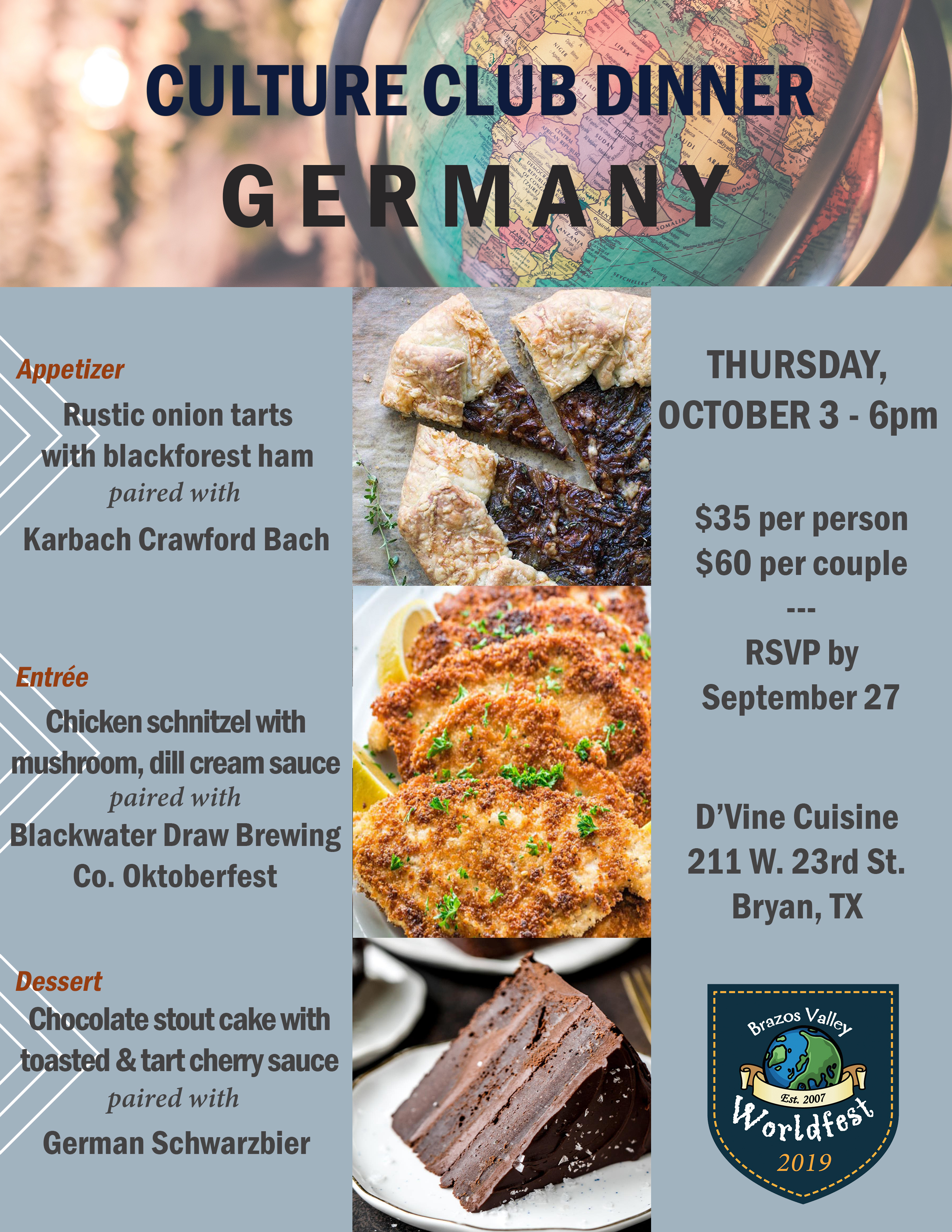 Menu for the Germany-themed culture club dinner